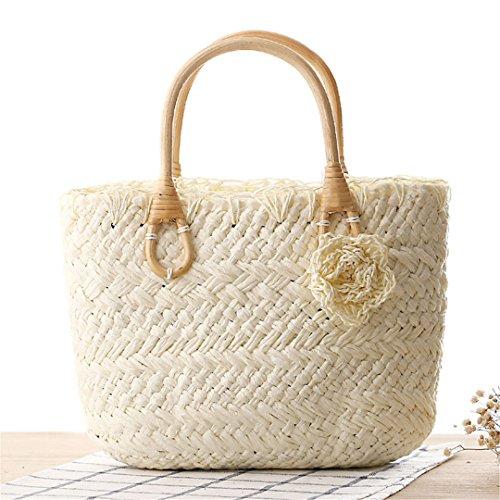 Casuales Summer De De White Weave Paja Flor Compras De Bolso Travel Beach Lady White Femenina Basket Mujeres Bolsas La Manualbages La Ss3098 Vendimia FwHdqAFn