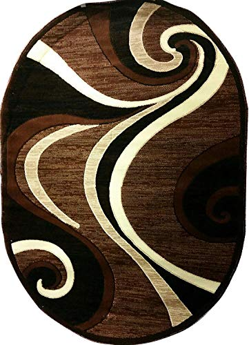 - Americana Modern Oval Contemporary Area Rug Brown Black Beige Swirl Design 144 (5 Feet 2 Inch X7 Feet 3 Inch)