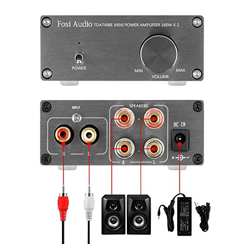 TDA7498E 2 Channel Stereo Audio Amplifier Receiver Mini Hi-Fi Class D Integrated Amp Home Speakers 160W x 2 + Power Supply by Fosi Audio (Image #2)