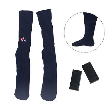 Calcetines de algodón calefactados con pilas para el invierno, calcetines térmicos ideales para actividades al aire libre, color azul oscuro, ...