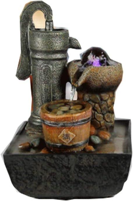 WASDOP Fuente De Interior, Característica De Agua Fuente De Zen El Jardín Feng Shui Adornos De Interior Característica De Agua Adornos Resina Artesanía Bomba De Agua Bola De Cristal (28 * 18 *