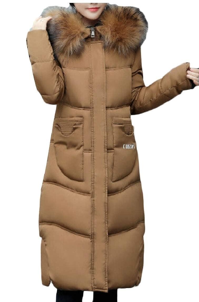 Brown Qiangjinjiu Women Solid Thicker Jacket Slim Down Coat Hood Winter Overcoat