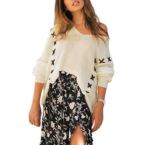 Pull V Col Uni Blanc Bigood Couleur Aux Longues Lâche Manches Sweater En Tricot Femme 5pEdqwZx
