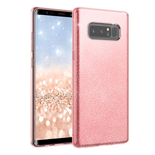 Price comparison product image Samsung Note 8 Case, Moonmini Samsung Galaxy Note 8 (2017) Sparkling Bling Glitter Ultra Slim Soft TPU 3 in 1 Dual Layer Hybrid Full Protection Backcover Protective Shell (Pink)