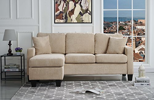 Modern Linen Fabric Sectional Sofa – Small Space Configurable (Beige)