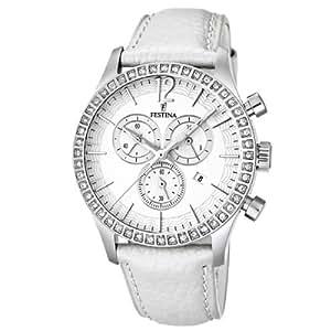 Festina Trend Chronograph F16590/1 - Reloj analógico de cuarzo para mujer, correa de cuero color blanco (cronómetro)