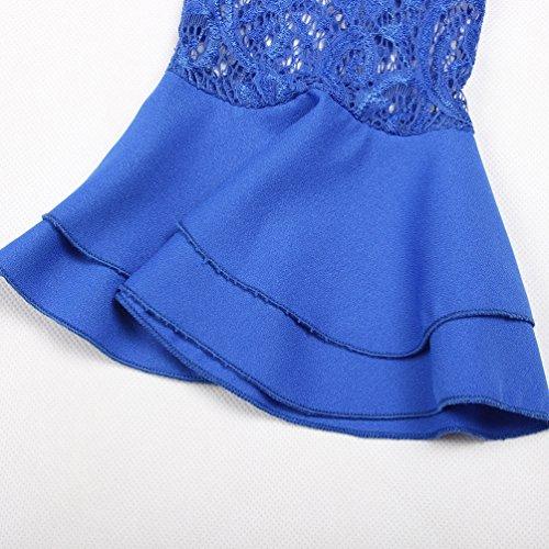 JackenLOVE Primavera e Autunno Donna Moda Pizzo Cucitura Bluse Tops T-Shirt Casual Rotondo Collo Maniche a Campana Maglietta Camicie Blu