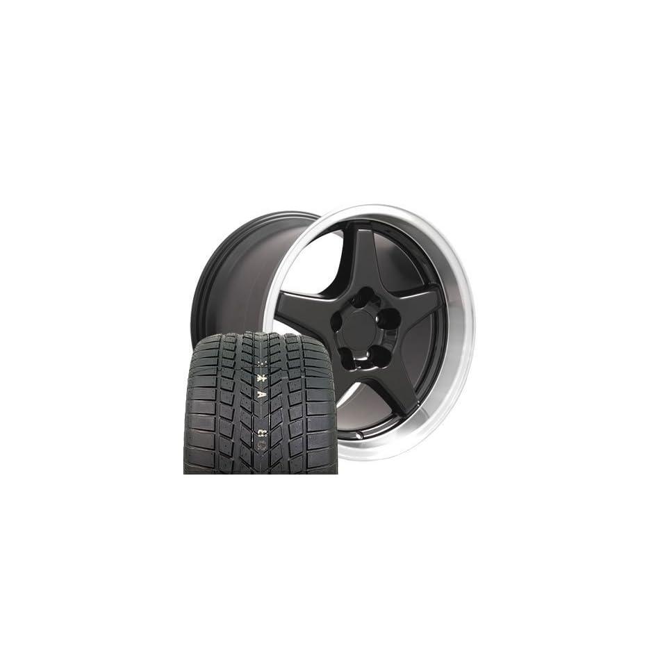 17 Fits Camaro Corvette   ZR1 Style wheels tires   Black 17x9.5 / 17x11 SET
