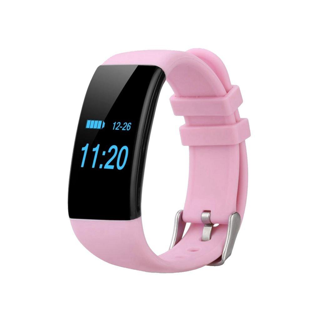 TOOGOO調節可能な防水iOS Android腕時計(OLEDスクリーン、ハートレート、歩数計、アラームコールとメッセージ) (ピンク)   B0742ZD2Q4
