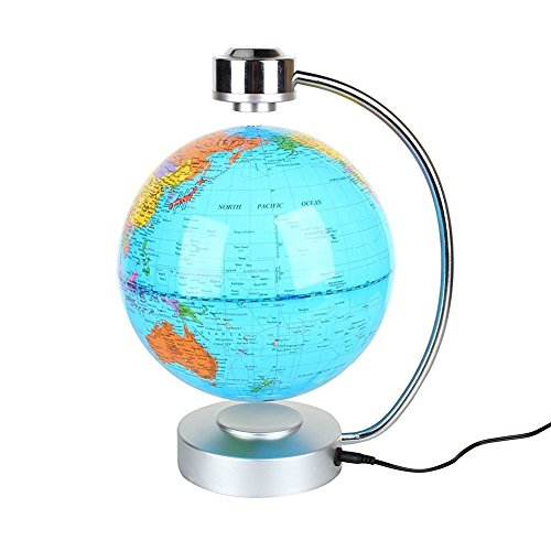 Globes World, 8'' Magnetic Floating Globe With LED Light - Anti-gravity Levitation Rotating Planet Earth Globe Stylish Home Office Desktop Display Decoration (Blue) by Yosoo (Image #3)