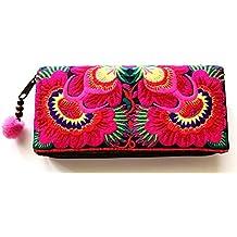 Wallet by WP Embroidery Sunflower Zipper Wallet Purse Clutch Bag Handbag Iphone Case Handmade for Women, Pink Wallet