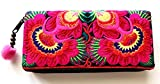 Wallet by WP Embroidery Sunflower Zipper Wallet Purse Clutch Bag Handbag Iphone Case Handmade for Women, Pink Wallet