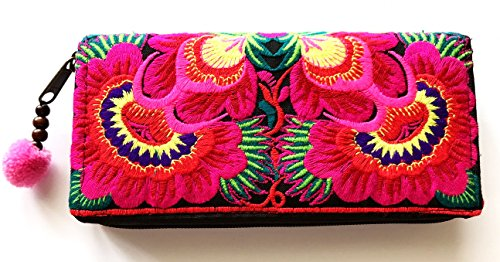Wallet by WP Embroidery Sunflower Zipper Wallet Purse Clutch Bag Handbag Iphone Case Handmade for Women, Pink - Bvlgari Bag Black