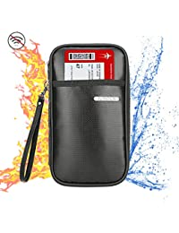 Family Passport Holder,Fireproof and Waterproof RFID Blocking Travel Wallet,Silicone coated Travel Document holder with Zipper for Men &Women