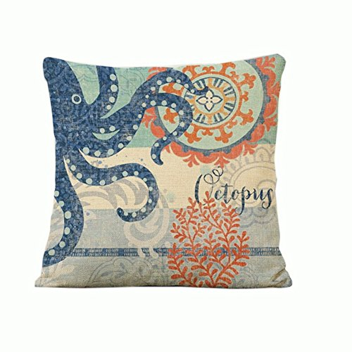 """18""""*18"""" Cotton Linen Pillow Cover Octopus Oil Painting Home Decorative Pillowcase Cushion Cover"""