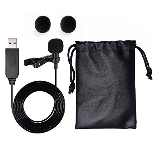 USB Microphone, SoulBay Light-weight Lapel Lavalier Clip-on Omnidirectional Condenser Mic Microphone for Laptop Computers & Mac, Perfect for Interviews, Audio Vedio Recording – [Plug and Play]