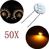 cciyu 50Pcs 4.7mm-12v Car Yellow Mini Bulbs Lamps Indicator Cluster Speedometer Backlight Lighting For GM GMC