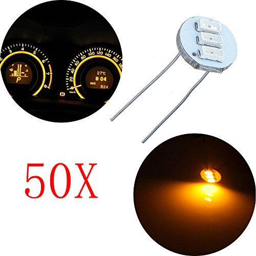 cciyu 50Pcs 4.7mm-12v Car Yellow Mini Bulbs Lamps Indicator Cluster Speedometer Backlight Lighting For GM GMC by CCIYU