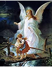 Guardian Angel Kids Full Drill Diamond Painting by Number Kits, 5D DIY Diamond Embroidery Crystal Rhinestone Cross Stitch Mosaic Paintings Arts Craft for Home Wall Decor (40X50CM)
