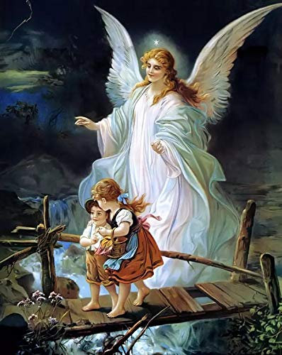 Guardian Angel Kids Full Drill Diamond Painting by Number Kits, 5D DIY Diamond Embroidery Crystal Rhinestone Cross Stitch Mosaic Paintings Arts Craft for Home Wall Decor (30X40CM)