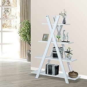 4-Tier A Frame Bookcase Display Storage Rack Ladder Bookshelf Home Shelving Unit White