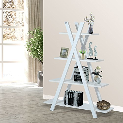 4-Tier A Frame Bookcase Display Storage Rack Ladder Bookshelf Home Shelving Unit White