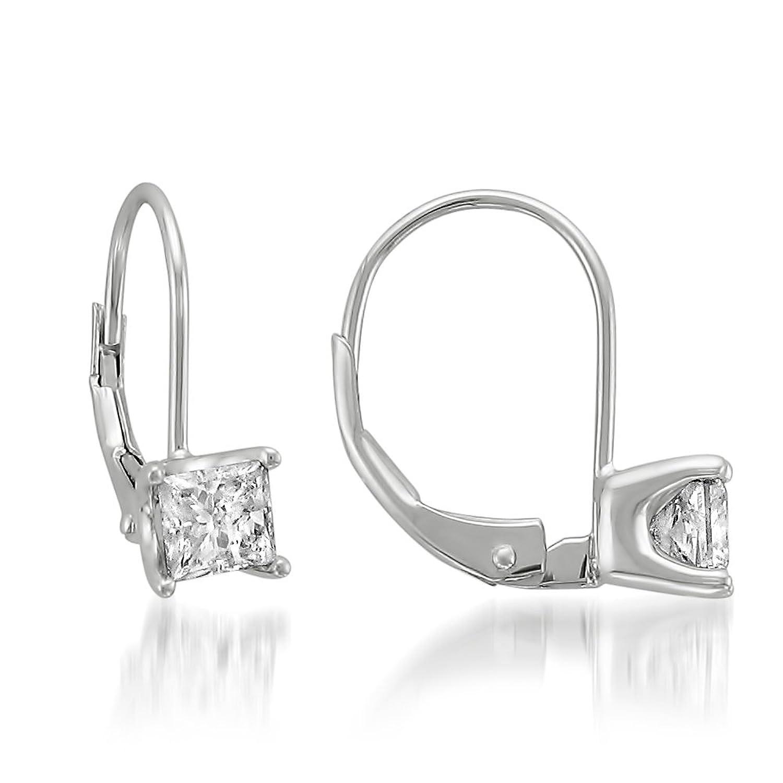 Amazon 14k White Gold Princess cut Solitaire Diamond