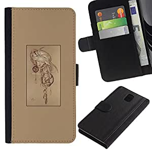 LECELL--Cuero de la tarjeta la carpeta del tirón Smartphone Slots Protección Holder For Samsung Galaxy Note 3 III -- Hipster Resumen --
