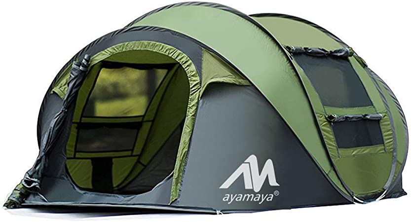 2win2buy Camping Tents 3 4 Person Easy Up Instant Dome Tents, Camping Gear Waterproof [2 Doors] Privacy Automatic Pop Up Big Family Tent Shelter with