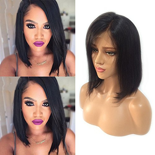 Short Bob Lace Front Wigs with Bangs Off Black Side Part Human Hair Lace Frontal Wigs Glueless Shoulder Length Human Hair Wig for Black Women Straight Hair 10'' 1B Natural Black+Free Wig Net by Sexybaby