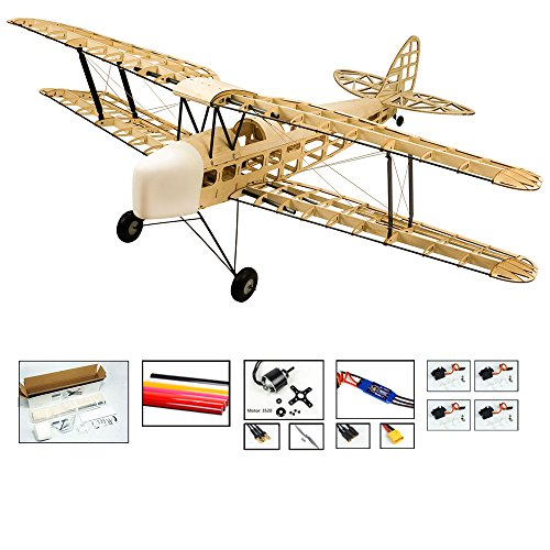 (S09 RC Balsa Wood EP & GP 1.4M De Havilland DH82a Tiger Moth Biplane by DW Hobby Balsa Laser-Cutting Remote Control Aeroplane for Adults; RC Unassembled Flying Model for Fun;)