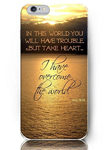 Iphone 6 5.5 inch PLUS Case OUO Inspirational and motivational life quotes in this world you will have trouble, I have overcome the world John 16:33 - Thin Hard Plastic Case Iphone 6 PLUS ( 5.5 ) Case