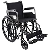 Mobiclinic, modelo S220, Silla de ruedas plegable premium, autopropulsable, ortopédica, para minusválidos, de acero, reposapiés y reposabrazos extraíbles, color Negro, asiento 46 cm, ultraligera