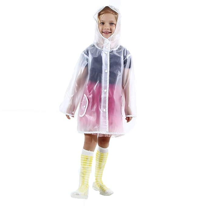 Lonshell Poncho para La Lluvia para Niños,con Capuchas,Transparente,Impermeables,Ecológico