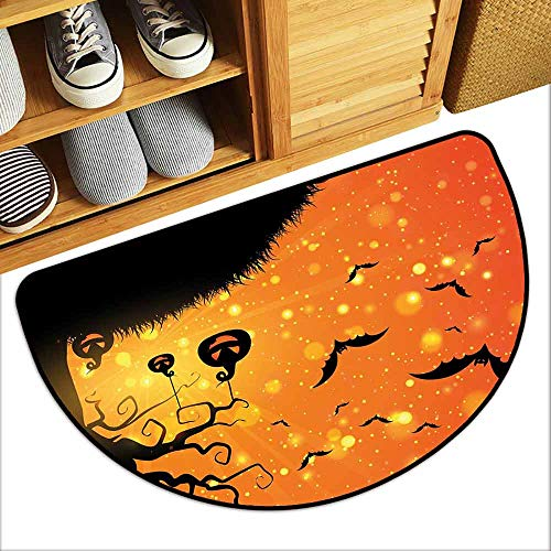 (DILITECK Front Door Mat Large Outdoor Indoor Halloween Magical Fantastic Evil Night Icons Swirled Branches Haunted Forest Hill All Season General W24 xL16 Orange Yellow)