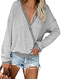 Womens Deep V Neck Wrap Sweaters Long Sleeve Waffle Knit Pullover Tops Shirts