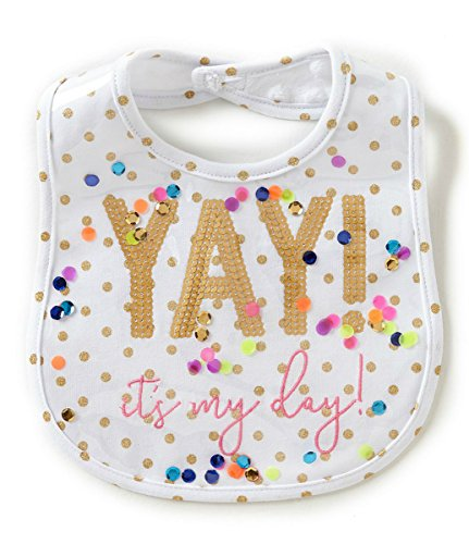 Mud Pie Baby Girls First Birthday Laminated Cake Smashing Bib, White, One - Birthday Bib