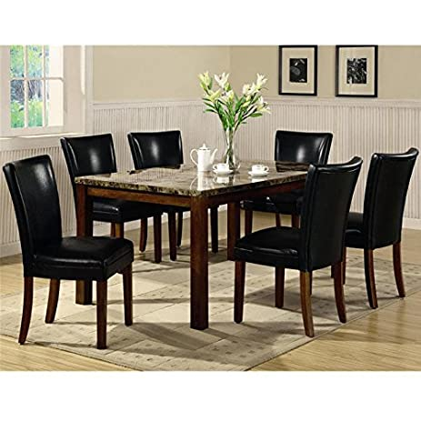 Amazon.com - Coaster Dining Table with Marble-Like Top Rich Cherry ...