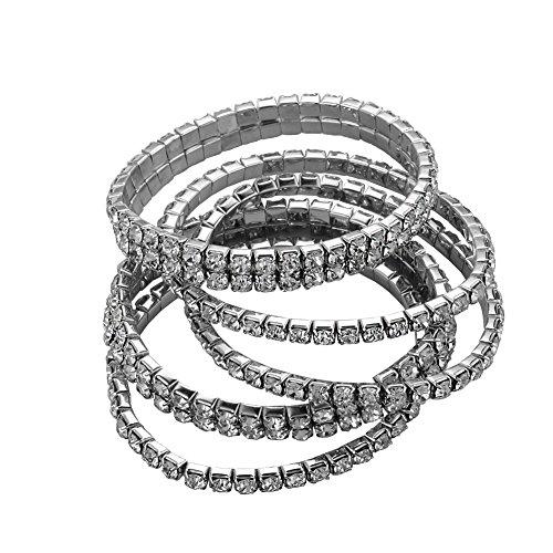 Ido4U The Latest Fashion ~!!!Promotion!! Crystal Rhinestone Elastic Bracelet 5pcs/set 4.33