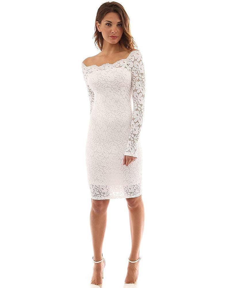 TALLA Medium. Imixcity Vestido de Fiesta Encaje Manga Larga sin Hombros Lápiz Mujer Bodycon Blanco Medium