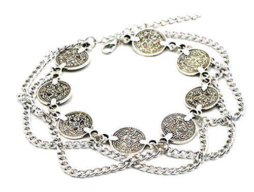 Pearlplus Vintage Boho Foot Jewelry Barefoot Sandals Indian Anklets Fashion Bracelet for Women (Silver 5(1 PC))
