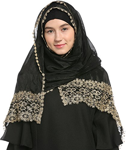 Ababalaya Lace Decorated Wedding Hijab Islamic Hijab, Black