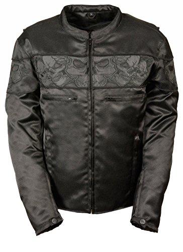 Mens Reflective Skulls Textile Jacket, Black Size L (Skull Textile Jacket)