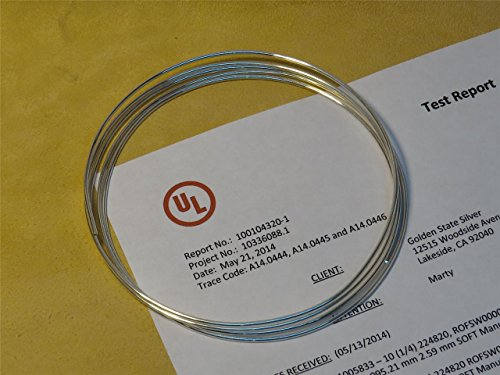 Golden State Silver 9999 Pure Silver 14 Gauge Wire - 72 inch Coil (6 feet) - UL Verified 99.99%