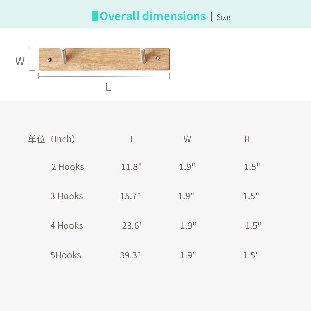 Amazon.com: Perchero montado en la pared/riel de madera de ...