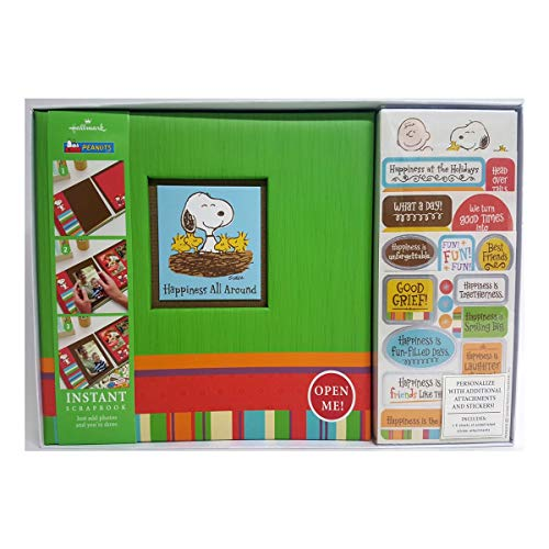 Hallmark Peanuts Snoopy & Friends 8x8 Instant Scrapbook Kit SBK5567 Happiness is All Around Post-Bound