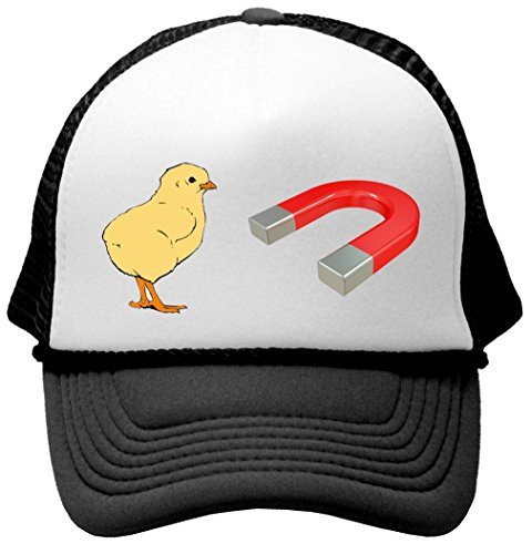 CHICK MAGNET - funny frat party guido Mesh Trucker Cap Hat, Black (Funny Caps)