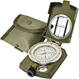 Lensatic Military Compass Hiking - Tritium Compass Military Grade style Camping Backpacking - Tactical Army Green Compass Survival Navigation - Hiking Waterproof Sighting Compass with Pouch