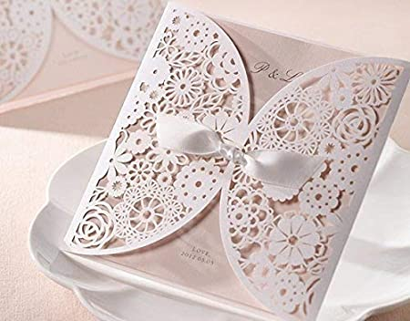 DIY Laser Cut Vintage Lace Flower Wedding Invitation Template Invite Card Cover With White Bows 25PCS