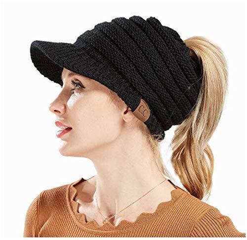 4ab1352aaf4 Heyuni.1PC Ladies Baseball Cap Caps Open Ponytail Hat Winter Wool ...